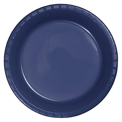 "Navy Blue Plastic 7"" Dessert Plates - 20ct"