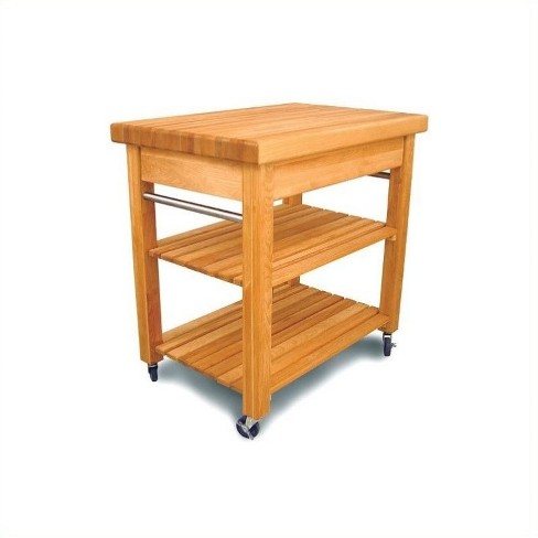 Wood Small Butcher Block Kitchen Cart in Natural Brown - Pemberly Row