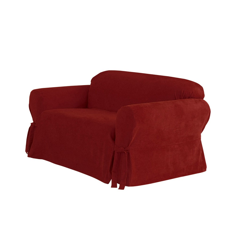 Soft Suede Sofa Slipcover Burgundy (Red) - Sure Fit
