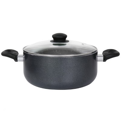 Oster Pallermo 5 Qt Aluminum Dutch Oven with Lid in Charcoal