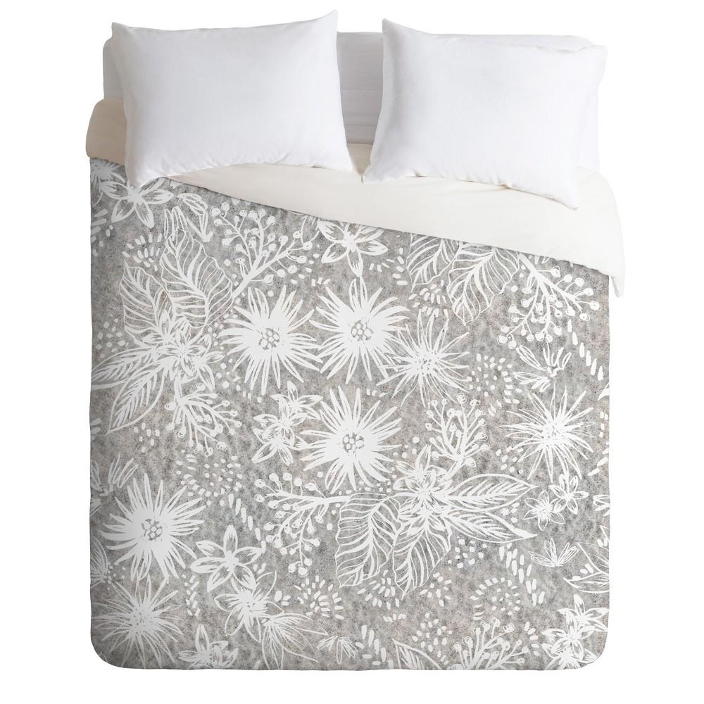King Schatzi Eden Floral Duvet Set Gray/Sand - Deny Designs