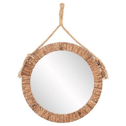 Round Caleb Decorative Wall Mirror Natural - Howard Elliott - image 1 of 2