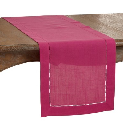 """120"""" x 16"""" Polyester Hemstitched Border Table Runner Pink - Saro Lifestyle"""