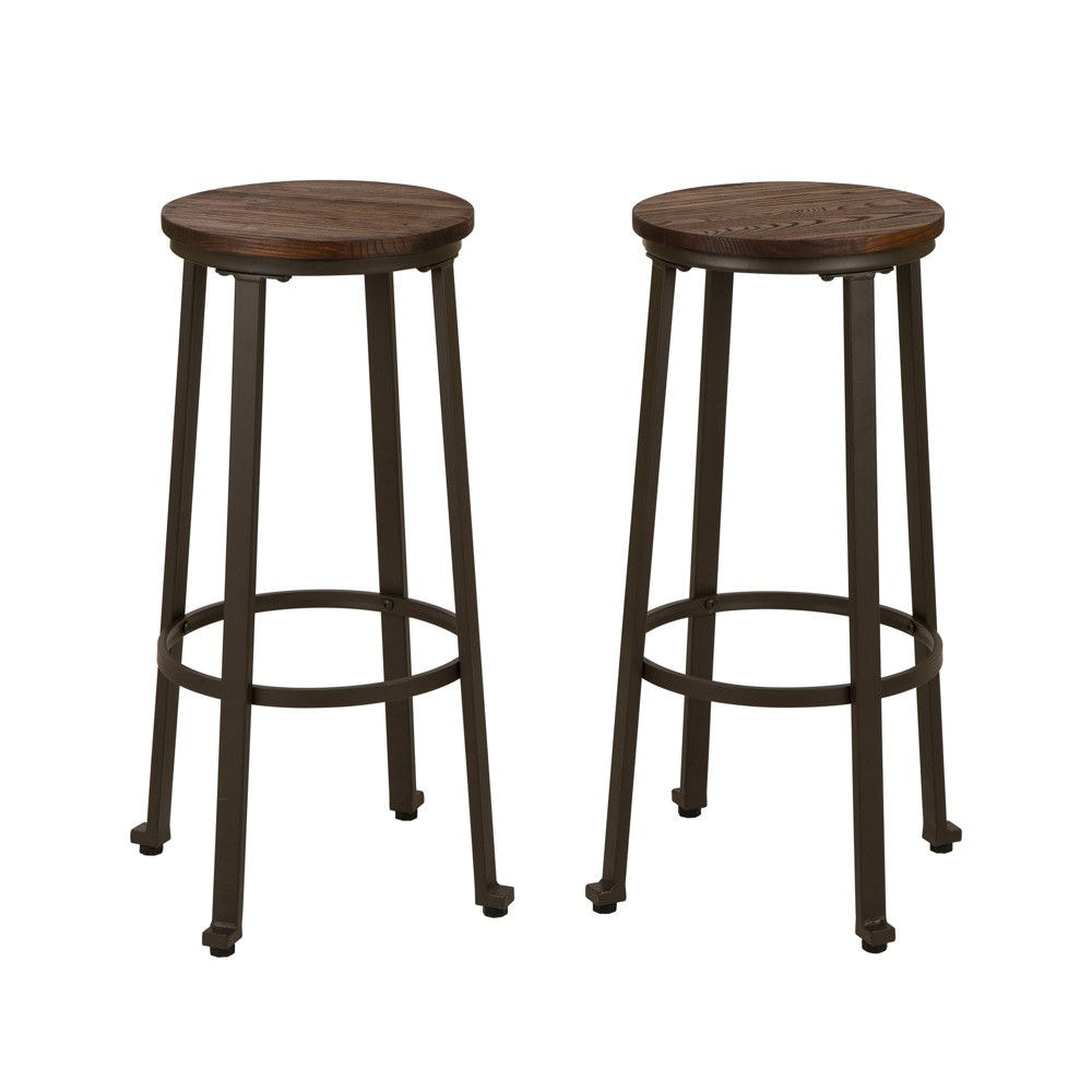 Rustic Steel Bar Stool With Wood Top Set of 2 Tan - Glitzhome