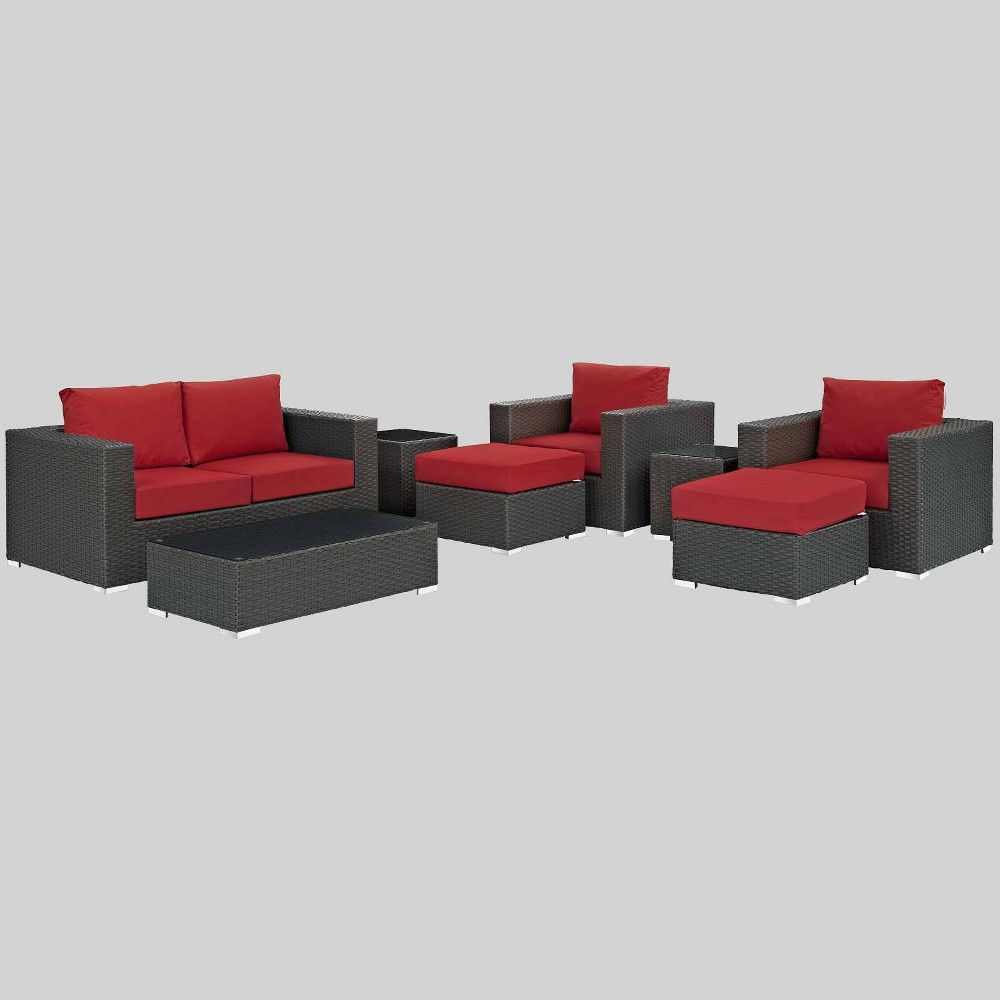 Sojourn 8pc Outdoor Patio Sectional Set with Sunbrella Fabric - Red - Modway