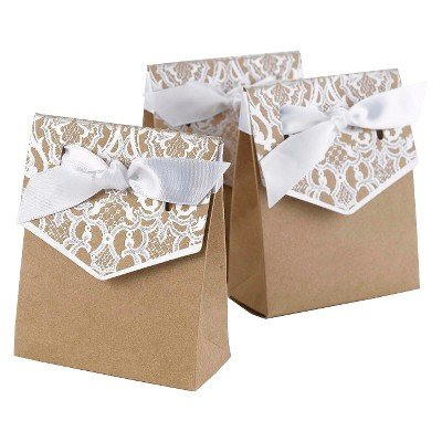25ct White Lace Silver Wedding Favor Bags - Spritz™