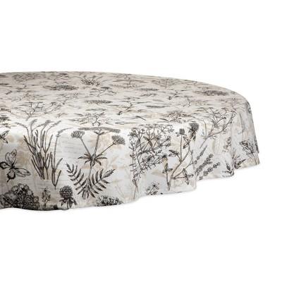 70  Round Botanical Print Tablecloth Natural - Design Imports