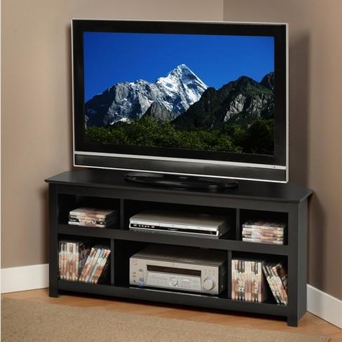 Vasari Corner Flat Panel Plasma/LCD TV Console Black - Prepac - image 1 of 4