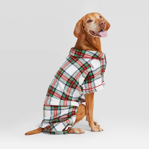 Holiday Tartan Plaid Cat & Dog Pajamas - Wondershop™ White - image 1 of 3