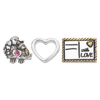"""Treasure Lockets 3 Silver Plated Charm Set with """"Love Birds"""" Theme - Silver"""