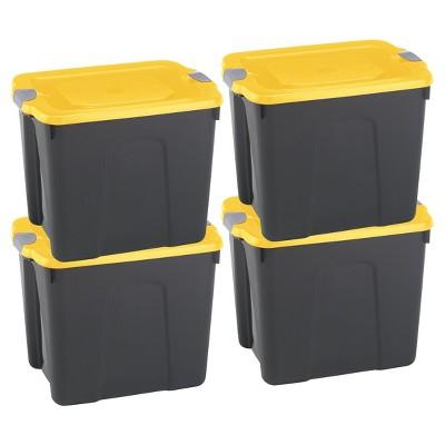 Durabilt22 Gal Storage Totes Set of 4 - Black/Yellow