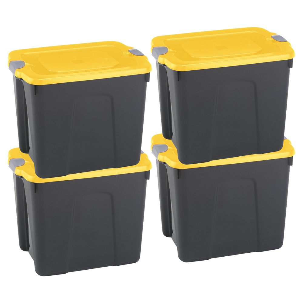 Image of Durabilt22 Gal Storage Totes, Set of 4, Black/Yellow, Clear