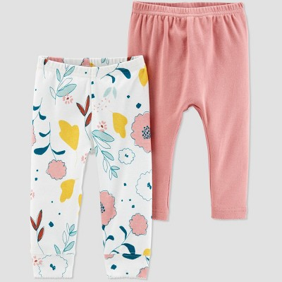 Little Planet Organic by Carters Baby Girls' 2pk Floral Pants - Light Brown 3M