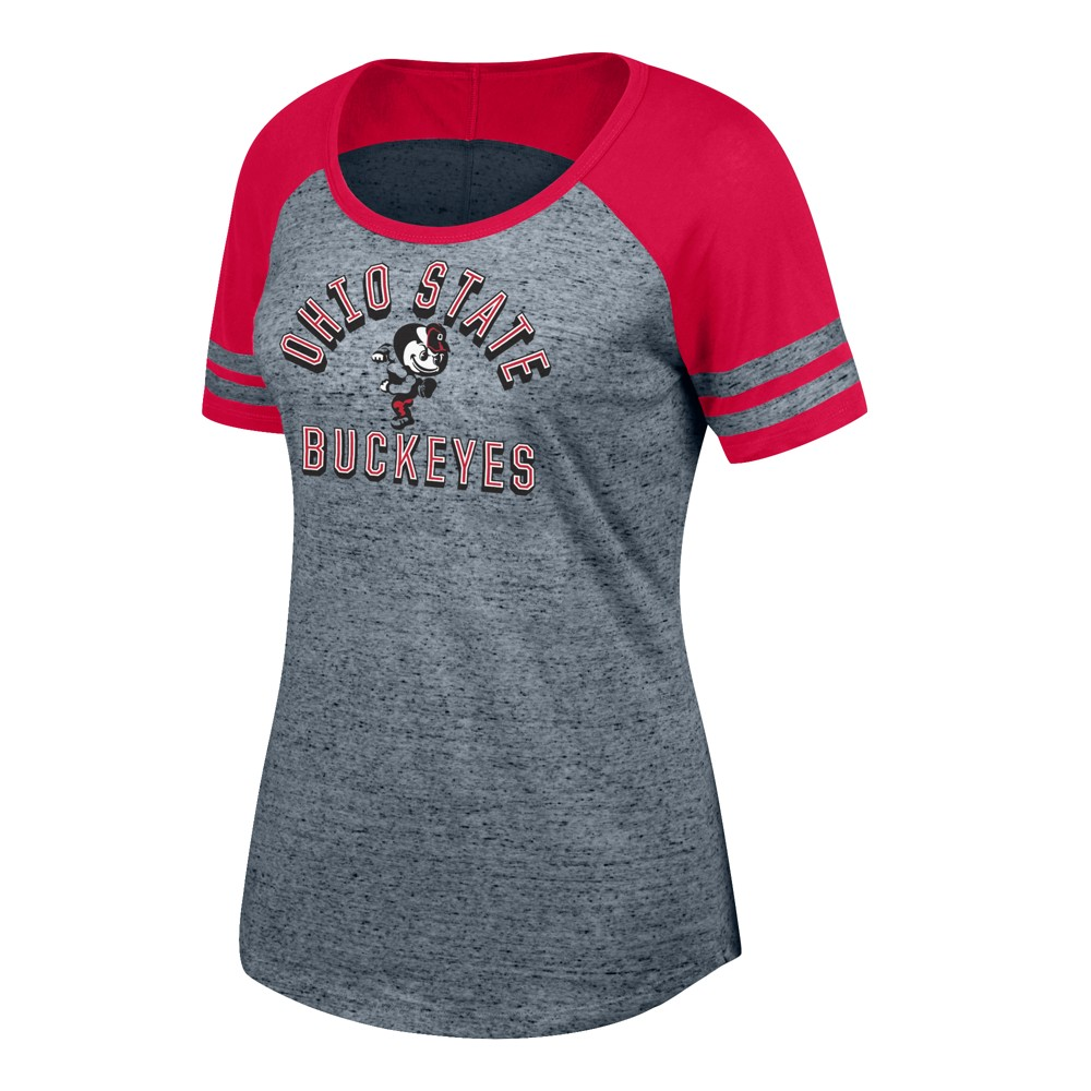 Ohio State Buckeyes Women's Short Sleeve Short Sleeve Pitch Perfect II Gray/ Scoop Neck T-Shirt S