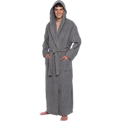 Ross Michaels Men's Big & Tall Full Length Cotton Terry Hooded Bathrobe