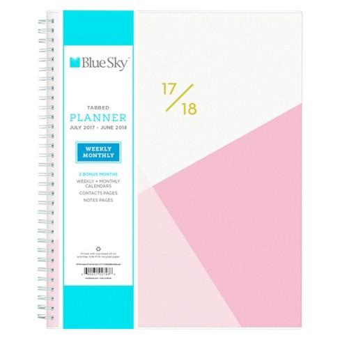2017 2018 blue sky academic planner weekly monthly pink geometric