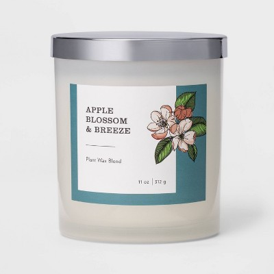 11oz Milky Glass Lidded Jar Candle Apple Blossom & Breeze - Threshold™