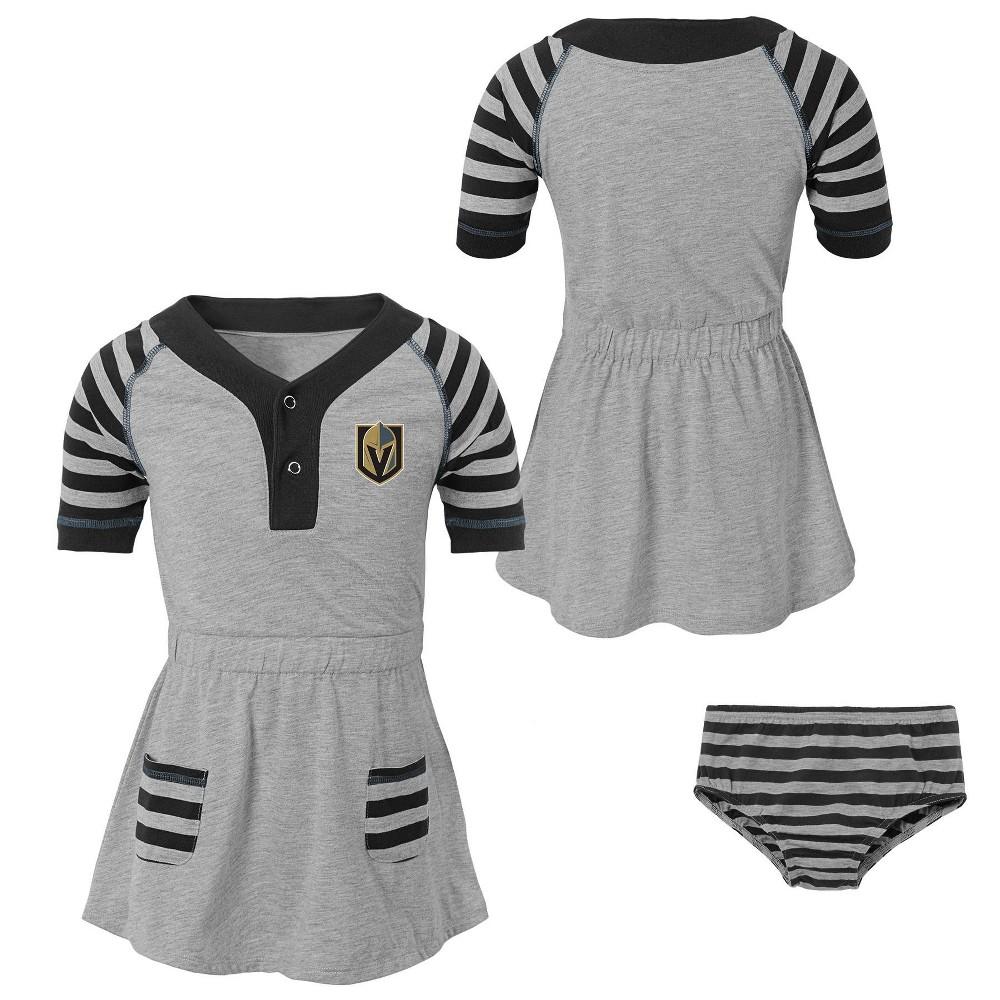 Vegas Golden Knights Girls' Infant/Toddler Striped Gray Dress - 12M, Multicolored