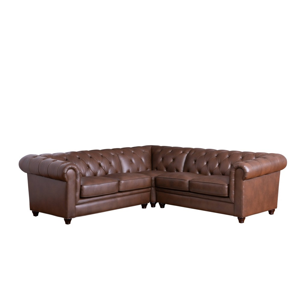 Image of 3pc Lincoln Tufted Chesterfield Sectional Brown - Abbyson Living