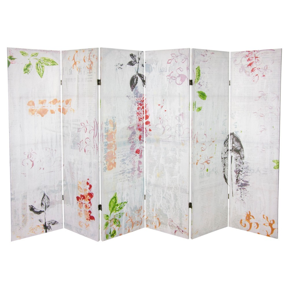5 1/4 ft. Paradise Grove Canvas Room Divider - Oriental Furniture, Multi-Colored