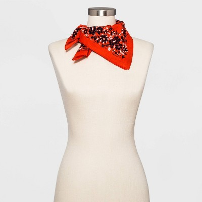 Adult Floral Print Bandana - Red