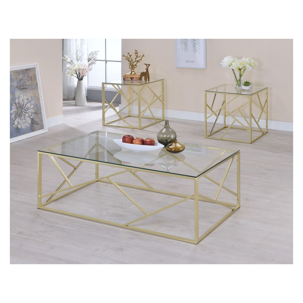 Iohomes Orme Contemporary Tempered Glass Accent Table Set Golden Mist - Homes: Inside + Out