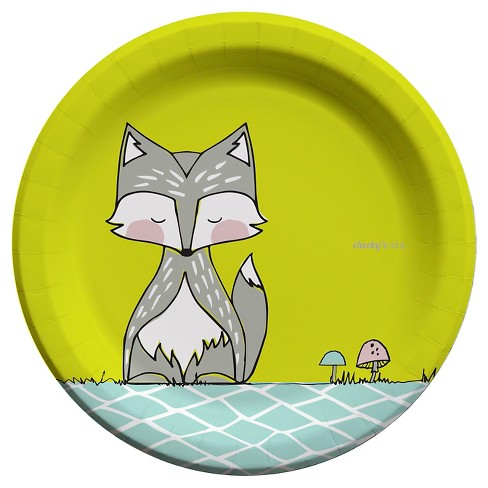 "Cheeky® Kids Gray Fox with Lime Yellow Paper Plates - 9"" (30ct) - image 1 of 4"
