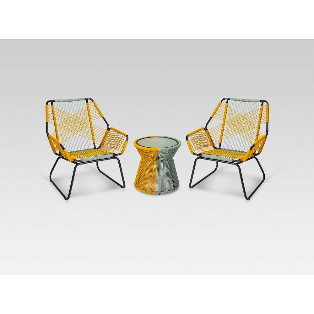 Carag 3pc Patio Chat Set Blue/Yellow - Project 62