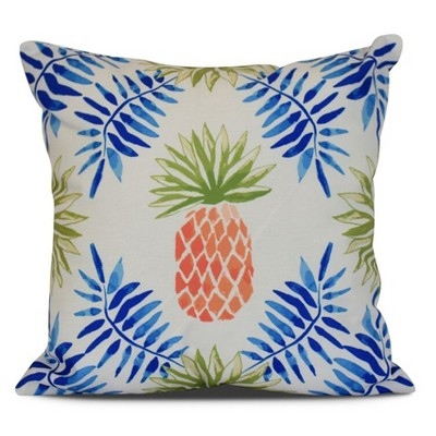 """16""""x16"""" Pineapple and Spike Printed Square Throw Pillow Blue - e by design"""