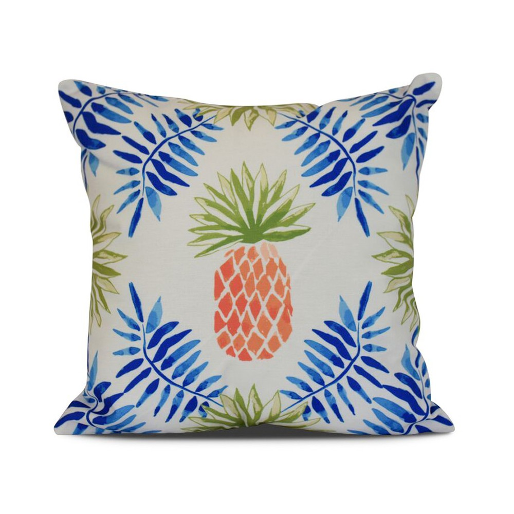 "Image of ""Blue/White Pineapple and Spike Print Pillow Throw Pillow (16""""x16"""") - E by Design"""