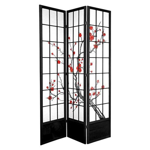 7 ft. Tall Cherry Blossom Shoji Screen - Black (3 Panels) - image 1 of 1