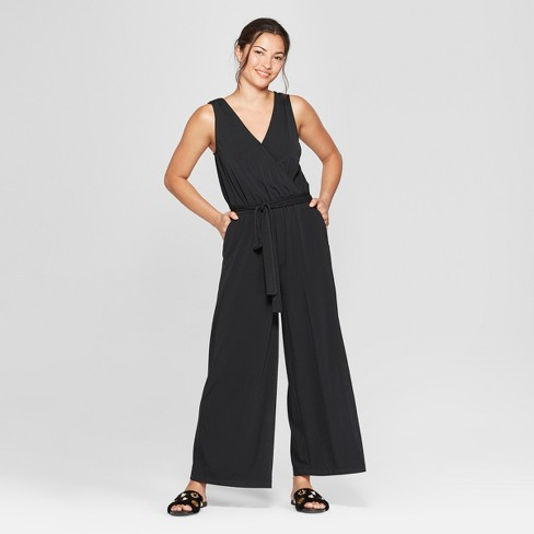 Women's Sleeveless Wrap Front Jumpsuit - A New Day™ Black - image 1 of 3