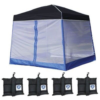 Z-Shade 10' x 10' Angled Leg Instant Black Canopy Shelter with Screen & Weights
