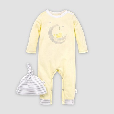 Burt's Bees Baby® Baby Organic Cotton Lamb in the Moon Jumpsuit and Knot Top Hat - Yellow 9M