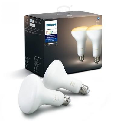 Philips Hue 2pk BR30 Warm-To-Cool LED Smart Light Bluetooth & Bridge Compatible