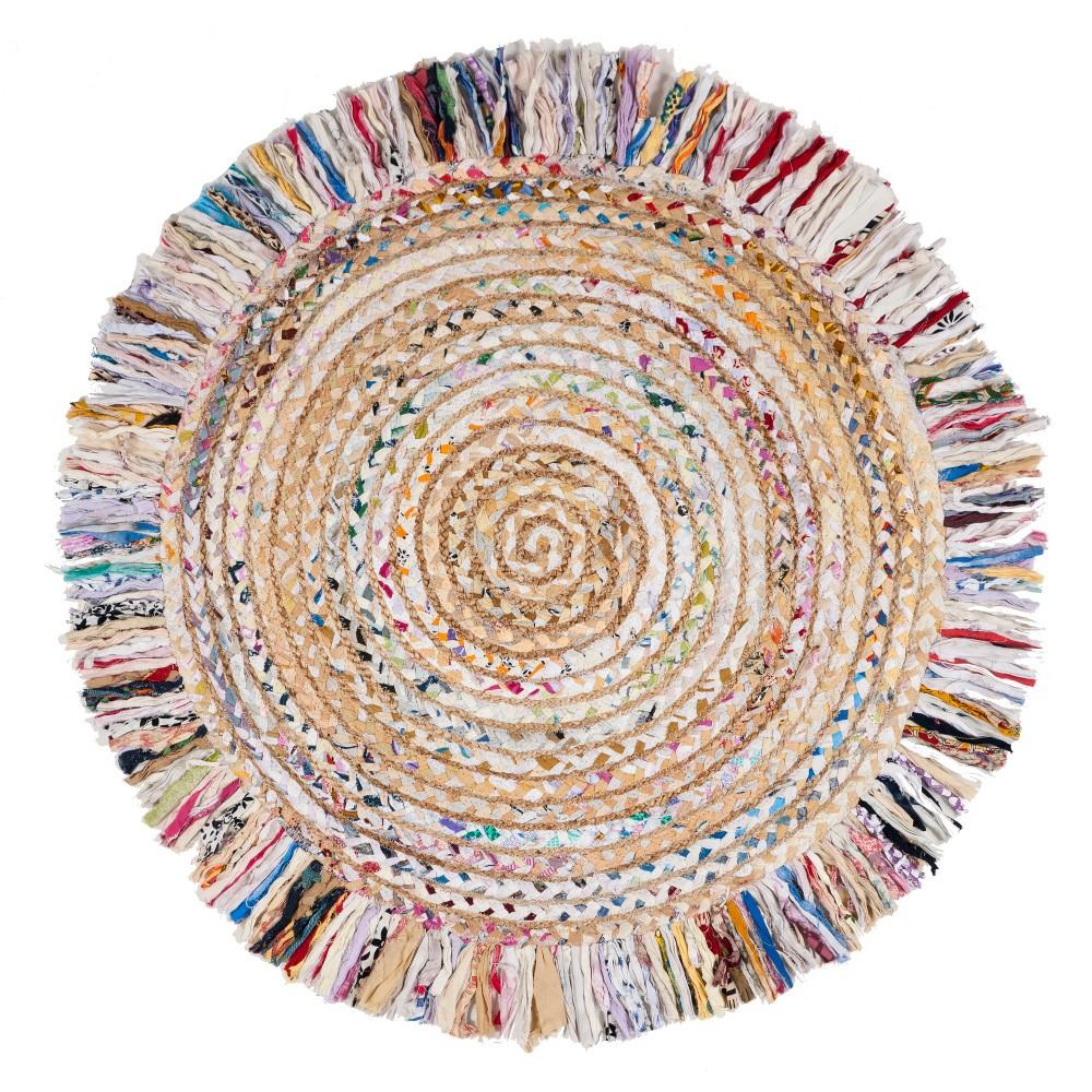 3' Stripe Woven Round Accent Rug Ivory/Light Beige - Safavieh