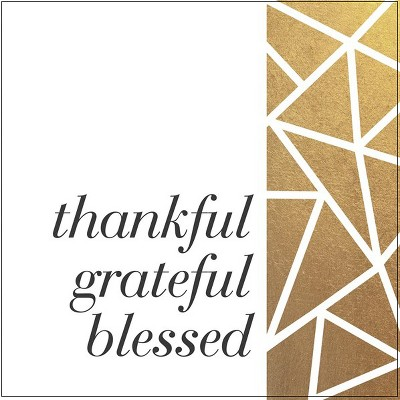 Thirstystone Stone Coaster Thankful Grateful Blessed White/Gold