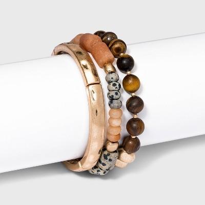 Semi-Precious Stretch Bracelet Set 3pc -Universal Thread™
