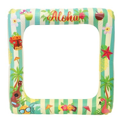 2 Packs Aloha Hawaiian Luau Inflatable Photo Booth Frame, Picture Selfie Props for Birthday Wedding Summer Pool Party Supplies Graduation