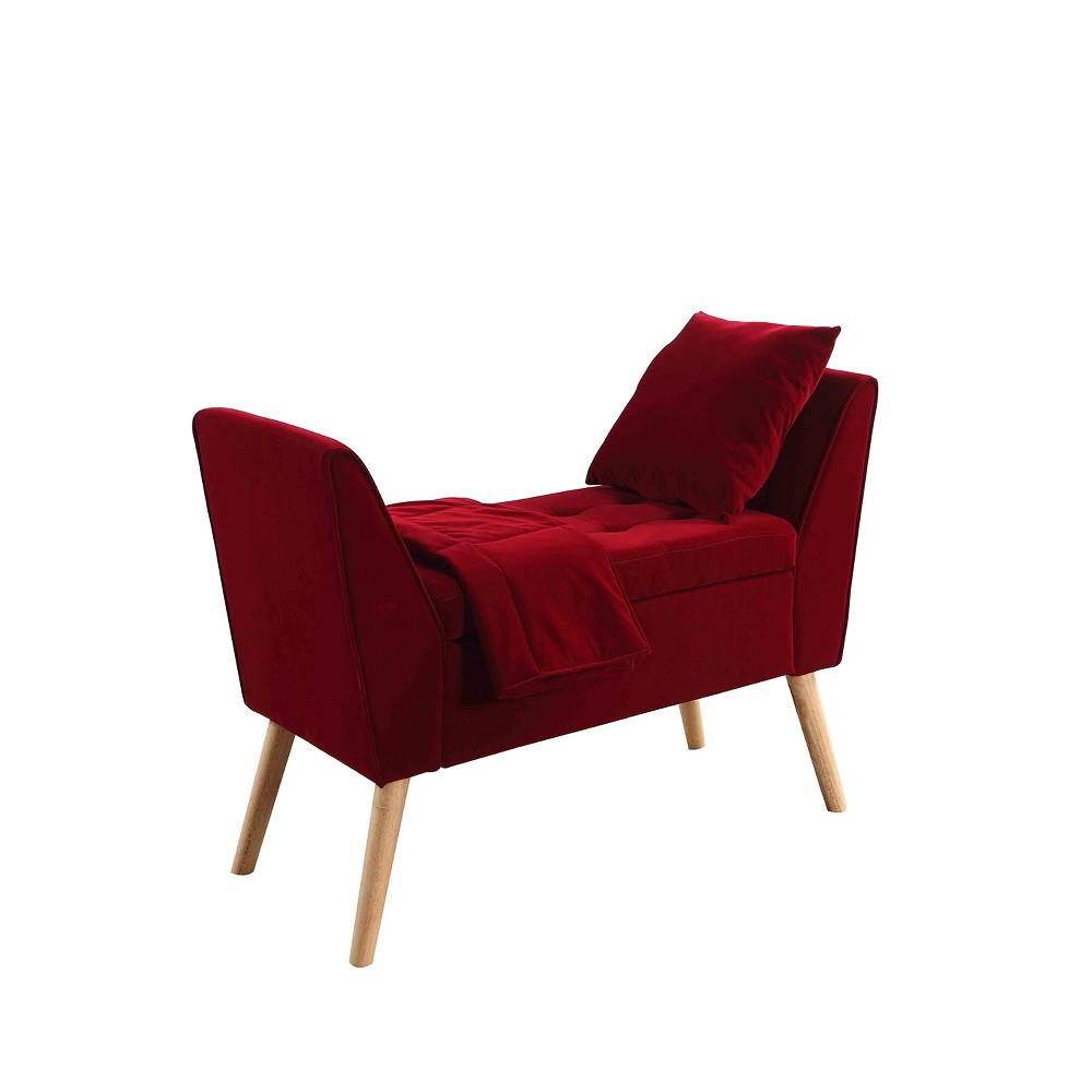 """Image of """"Storage Bench with Pillow & Blanket 27"""""""" - Red - Ore International"""""""