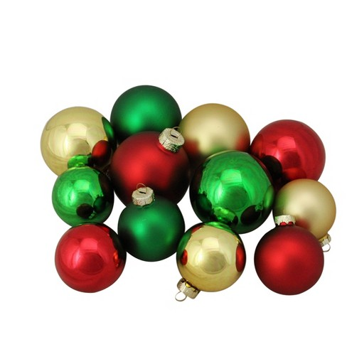 Northlight 96ct Red Green And Gold Shiny And Matte Glass Ball Christmas Ornaments 2 5 3 25