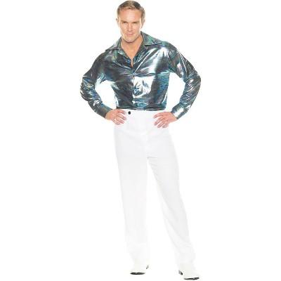Adult Disco Shirt Blue Silver Halloween Costume XXL