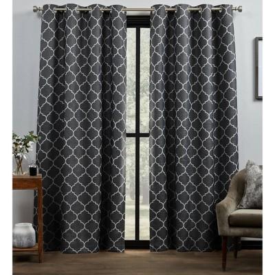 "Set of 2 84""x54"" Bensen Trellis Total Blackout Grommet Top Curtain Panel Black/White - Exclusive Home"
