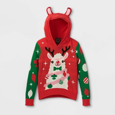 Girls' Llama Hooded Pullover Sweater - Red