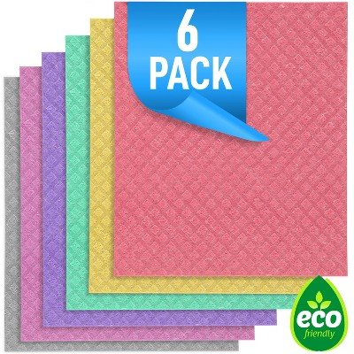 Zulay Kitchen Reusable Eco-Friendly Swedish Dishcloth - 6 Pack - Yellow, Purple, Green, Red, Pink, and Gray