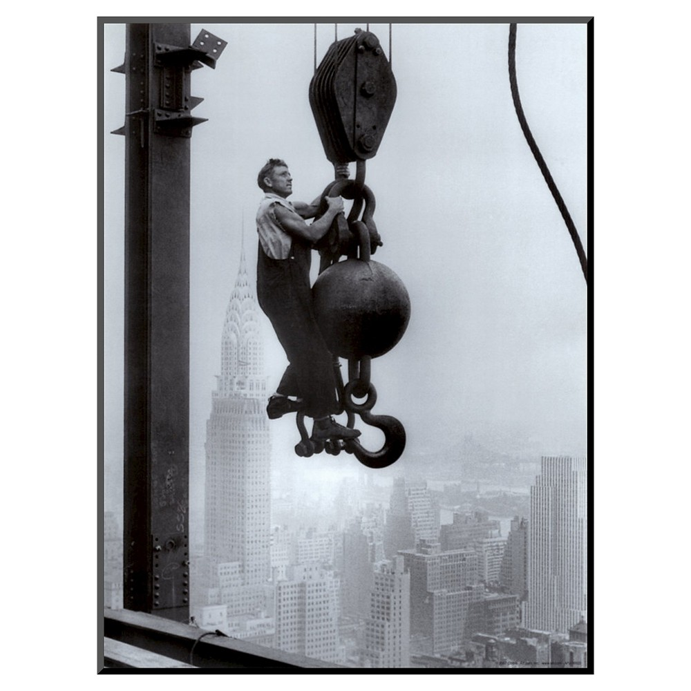 Art.com Decorative Wall Panel Construction Worker on the Empire State Building - Almost Black