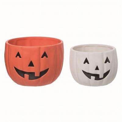 Transpac Ceramic Orange Halloween Jack-O-Lantern Bowls Set of 2