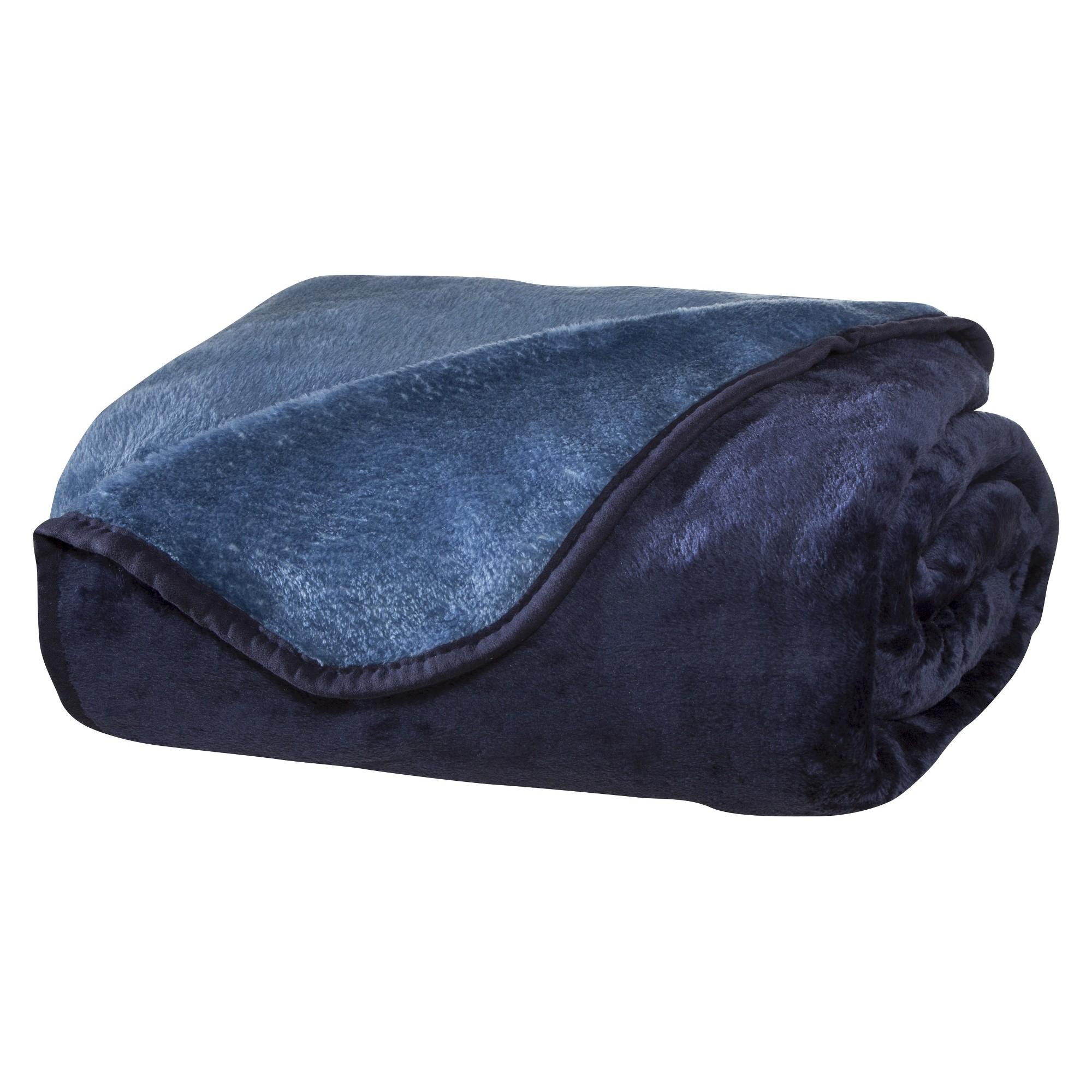 All Seasons Reversible Plush Blanket (Twin) Blue/Light Blue, Blue & Lt Blue