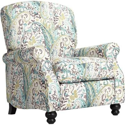 Elm Lane Ethel Skye Blue Paisley Push Back Recliner Chair