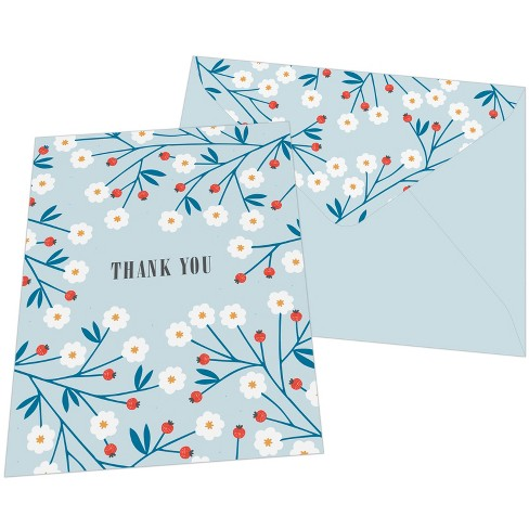 10ct Floral Sprigs Thank You Cards - Green Inspired - image 1 of 1